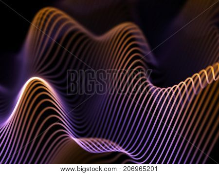 Information technology concept: abstract blue glowing waves. Futuristic background. Vector illustration.