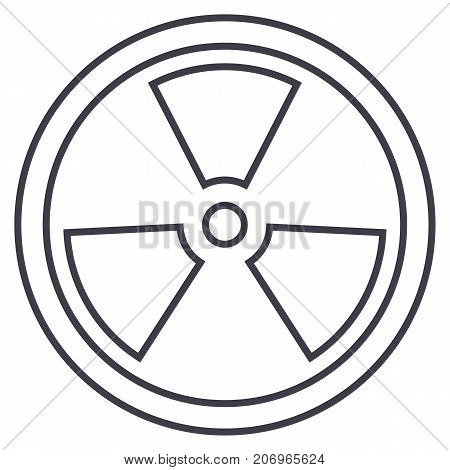biohazard, dangerous radiation vector line icon, sign, illustration on white background, editable strokes
