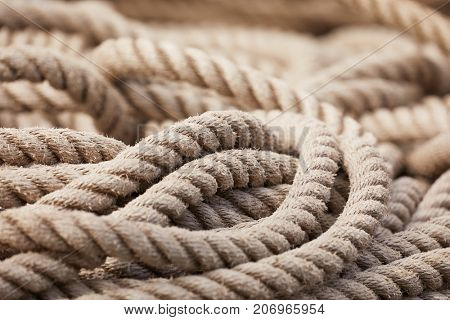 Old rope piled up on the floor