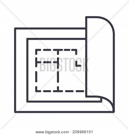 blueprint, house plan project vector line icon, sign, illustration on white background, editable strokes