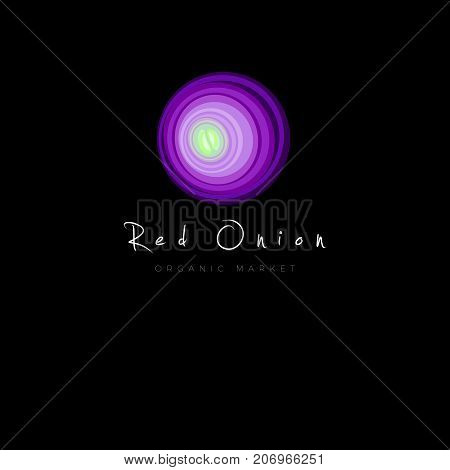 Red onion icon. Organic Market logo. Vegetarian restaurant emblem. Red onion and letters on a dark background.