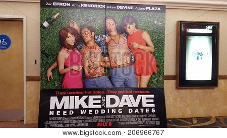 Honolulu - May 31 2016: Mike and Dave Need Wedding Dates Movie poster ad in Movie Theater in Honolulu Hawaii. Taken on May 31 2016.