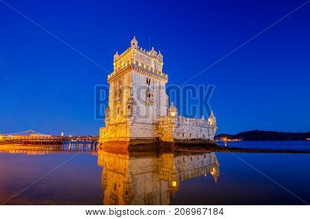 Old medieval tower Belem on the river Tagus at night. Lisbon. Portugal.