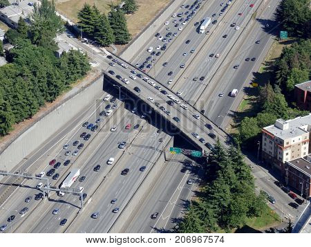 SEATTLE-- JUNE 25: Aerial of traffic along the I-5 Highway amd overpass on June 25 2016 in Seattle WA.