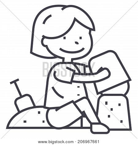 boy playing with sand on beach or sandbox, scapula and bucket vector line icon, sign, illustration on white background, editable strokes