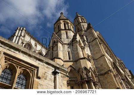 York Minster Cathedral, Yorkshire and blue sky background
