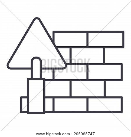 brick wall, diy vector line icon, sign, illustration on white background, editable strokes