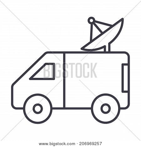 broadcasting car with satellite dish vector line icon, sign, illustration on white background, editable strokes