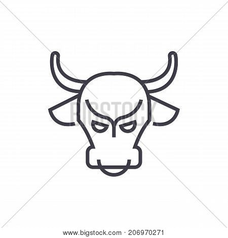 bull market, stock market, bullish vector line icon, sign, illustration on white background, editable strokes