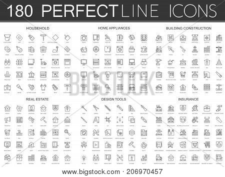180 modern thin line icons set of household, home appliances, building construction, real estate, design tools, insurance isolated.
