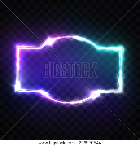 Night Club Neon Sign. Blank 3d Retro Light Signboard With Shining Neon Effect. Techno Frame Glowing On Transparent Background. Electric Street Banner Design. Colorful Vector Illustration in 80s Style.