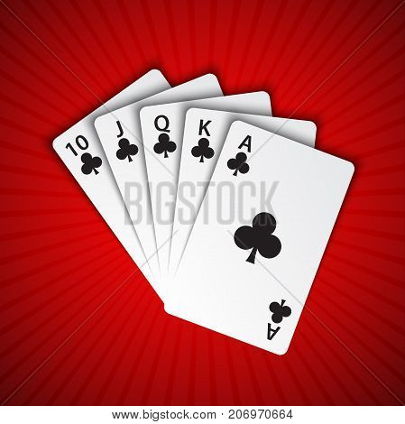 A royal flush of clubs on red background winning hands of poker cards casino playing cards