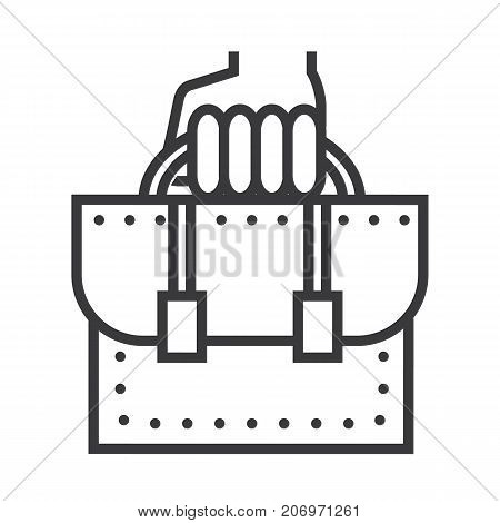 business portfolio vector line icon, sign, illustration on white background, editable strokes