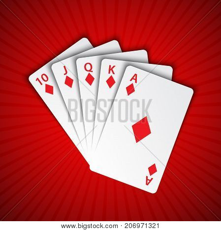 A royal flush of diamonds on red background winning hands of poker cards casino playing cards