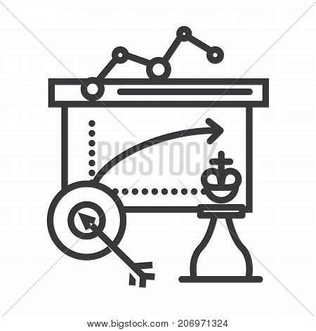 business tactics vector line icon, sign, illustration on white background, editable strokes