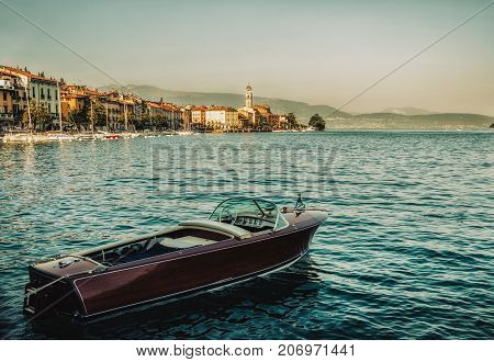 Close up on the boat in the Garda Lake Salo Italy