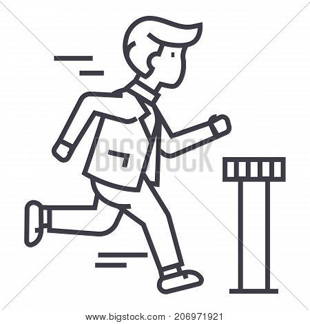businessman running to finish vector line icon, sign, illustration on white background, editable strokes