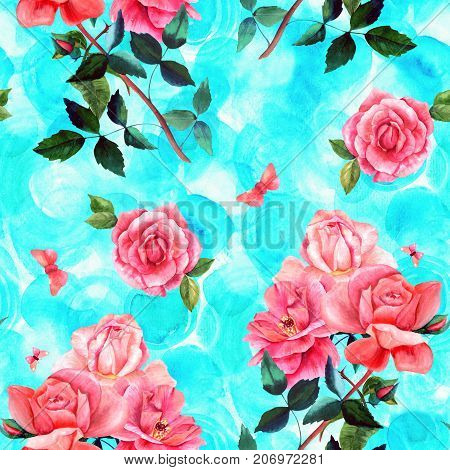 Seamless background pattern with watercolor drawings of red and pink rose flowers and butterflies, on teal blue, hand painted in style of vintage botanical art. Romantic botanical bouquet repeat print