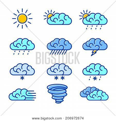 Line art of weather icons. Weather icons set vector illustration.