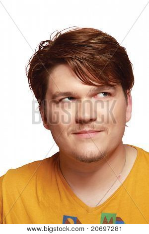 Closeup of a creative young man wearing an orange t-shirt