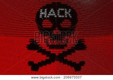 skull and crossbones hack presented in the form of binary code 3d illustration