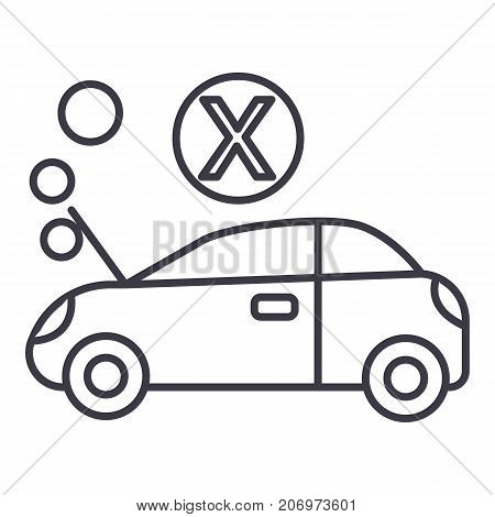 car broke vector line icon, sign, illustration on white background, editable strokes