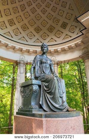PAVLOVSK ST PETERSBURG RUSSIA - SEPTEMBER 21 2017. Monument to empress Maria Fedorovna in Rossi Pavilion in Pavlovsk near St Petersburg Russia