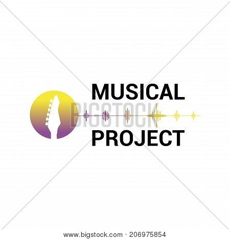 Vector logo template for musical project in purple and yellow color isolated on white background. Music icon.Image of guitar label for sound recording studio.