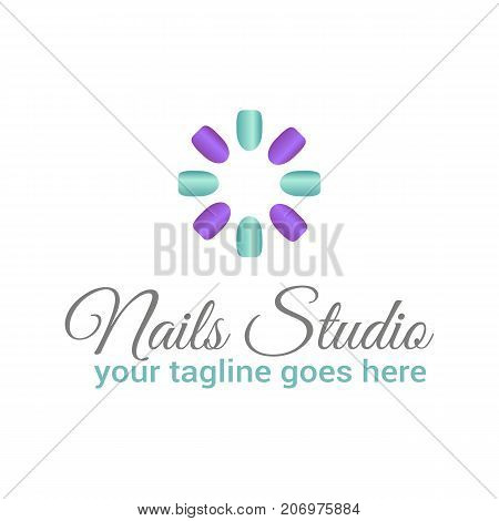Vector logo template for nail studio salon manicure or nail bar in purple and mint color.