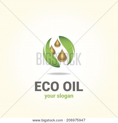Vector logo template for oil company. Industrial design. Oil drops and leaves. Eco production. Environment protection.
