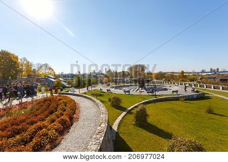 View of the fountain in the village of Buki Ukraine. October 11 2014