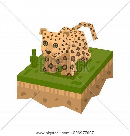 Cartoon 3D isometric leopard. African animal. Vector character. Animal wild safari, mammal in wildlife. Leopard on ground tile.