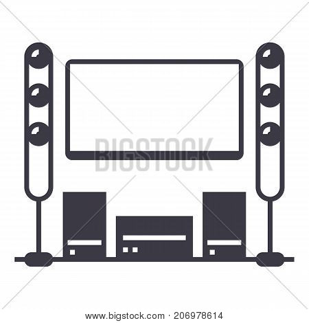 cinema room, home theater vector line icon, sign, illustration on white background, editable strokes