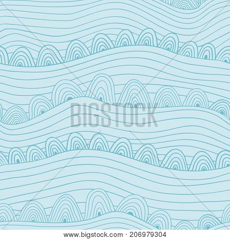 Blue vector seamless abstract hand-drawn pattern. Wave patterns seamlessly tiling. Hand drawn seamless wave background