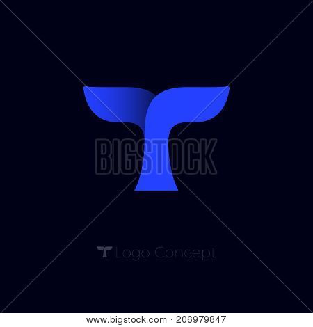 T monogram. T letter origami emblem.  Whale tail logo. Blue whale tail on a dark background.