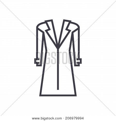 coat, topcoat vector line icon, sign, illustration on white background, editable strokes