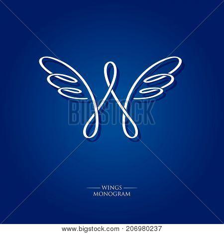 W wingsletter. W monogram. Wings logo. The letter w with wings on a blue background. Linear logo.