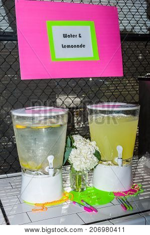 Water and lemonade dispensers to quench your non-alcoholic party thirst.