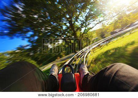 Very fast summer toboggan-run from inside in nature