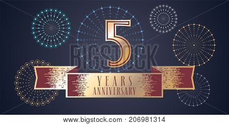 5 years anniversary vector icon logo. Graphic design element illustration with ribbon and golden color number for 5th anniversary celebration