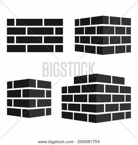 Set of Bricks icons. Bricks logo. isolated on white background. Vector illustration. Eps 10.