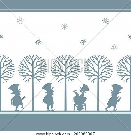 Endless border with funny gnome, leprechaun, dwarf silhouettes in winter garden, cartoon vector illustration on white background. Endless border with funny gnomes, leprechauns, paper cup design