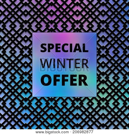 Special offer template on a holographic background for sale