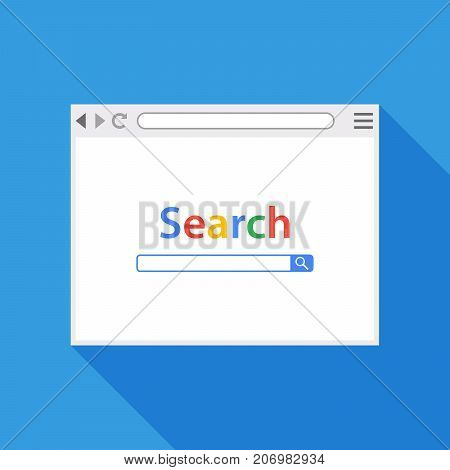 Browser window vector illustration. Flat style with long shadow. Window concept internet browser.