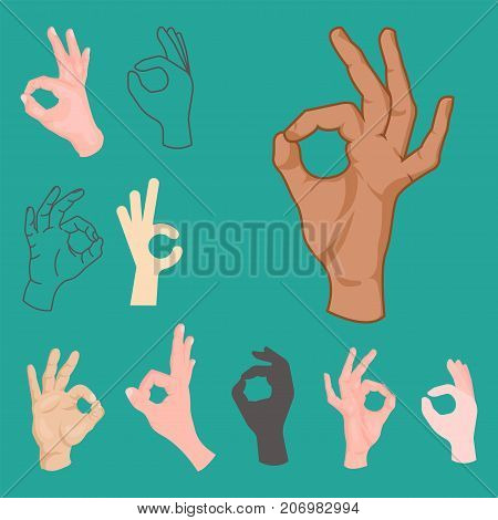 Ok hands success gesture and okey yes agreement signal business human agree best approval accept. Silhouette of human body part showing symbol of all ok vector character.