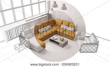 CAD interior design room planning of living room loft (3D Rendering)