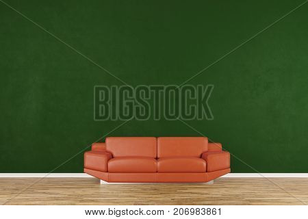 Living room with orange couch interior design and parquet floor (3D Rendering)