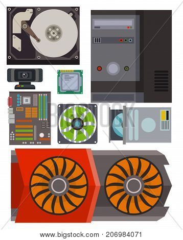 Computer parts network component accessories various electronics devices and desktop pc processor drive hardware memory card vector illustration. Electronics network component accessories symbol.