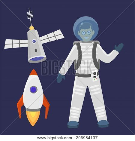 Astronaut in space landing different spaceship future exploration space ship cosmonaut rocket shuttle vector illustration. Galaxy atmosphere system fantasy nature spacecraft.