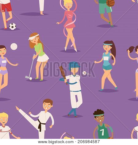 Health sport people characters sporting man activity woman athletic seamless pattern background vector Illustration. Active fitness exercise healthy person training.
